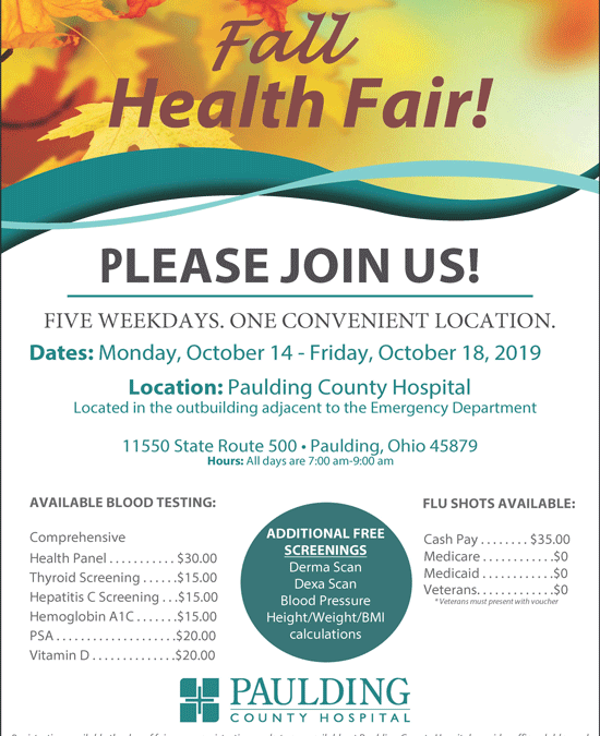 Less than one week until the Fall Health Fair!